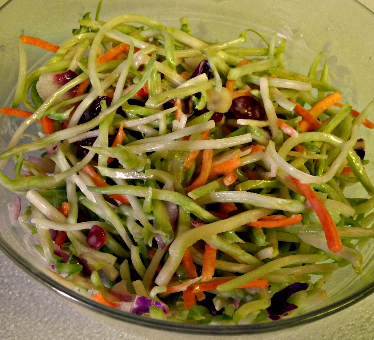 Broccoli Slaw with Cranberries, Almonds and Yogurt Dressing