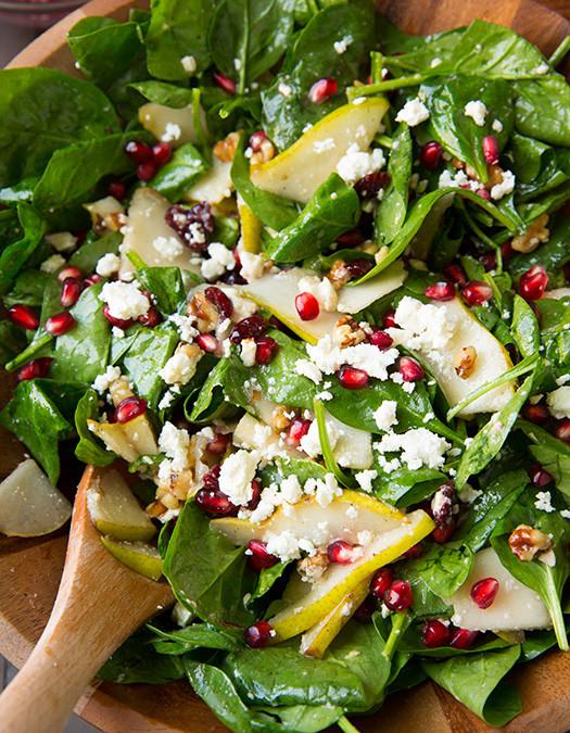 Spinach, arugula, pear & pomegranate salad