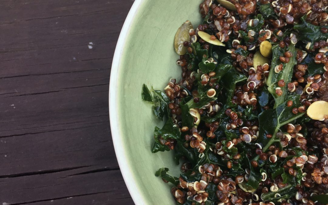Kale quinoa salad with lemon ginger dressing