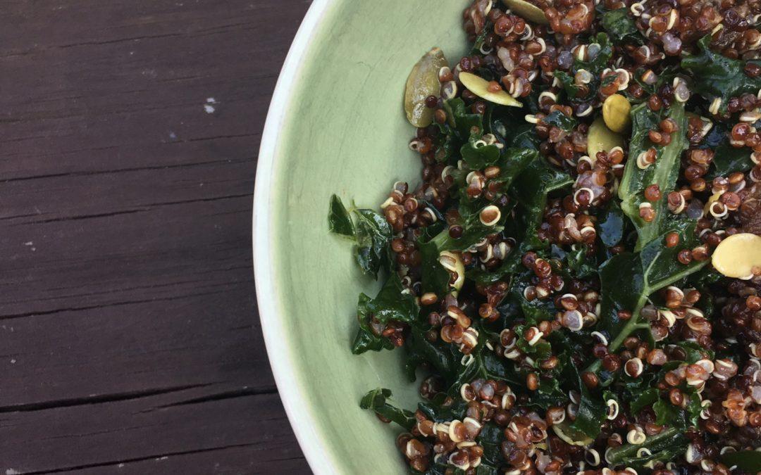 Kale quinoa salad with lemon ginger dressing