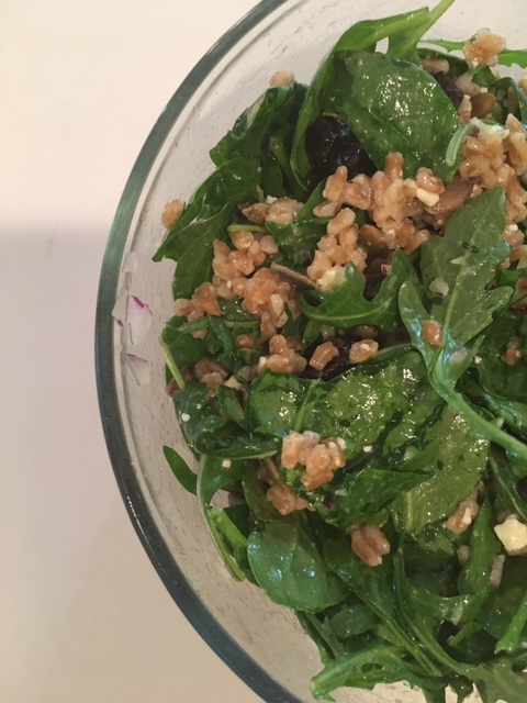 Farro salad with arugula, spinach & dried cherries