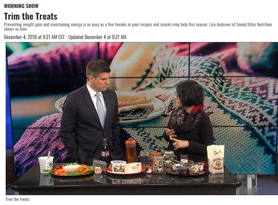Lisa Andrews, RD, talks about trimming treats and healthy snacks.