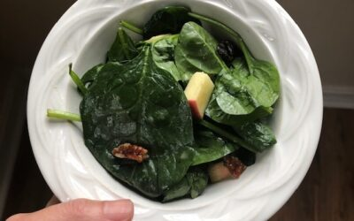 Thanksgiving recipe! Spinach salad with apples, cherries & pecans
