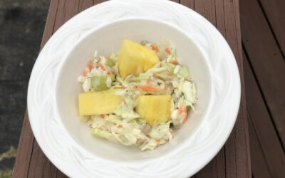 Sweet cabbage slaw with fresh pineapple and sunflower seeds