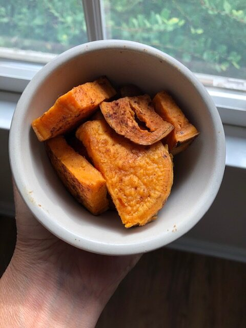 Cinnamon dusted sweet potatoes
