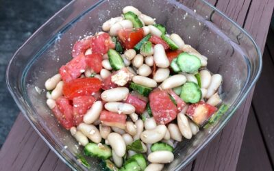 Tomato cucumber salad with balsamic dressing and basil