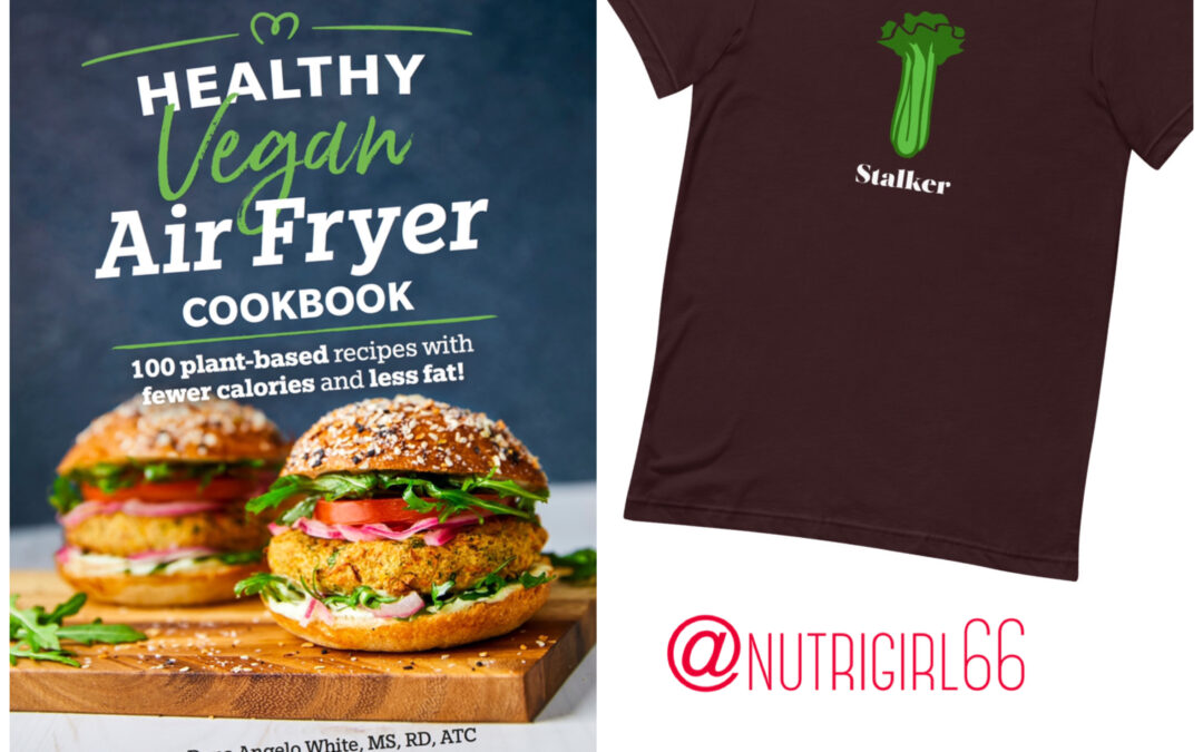 Vegan air fryer cookbook and food pun tee giveaway contest