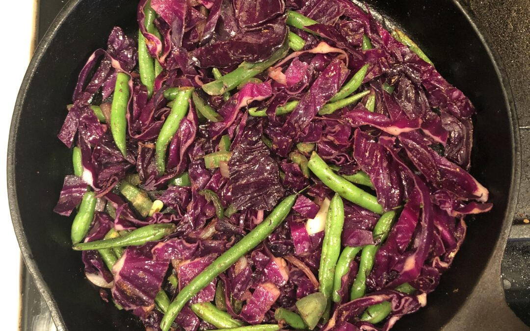 Indian spiced sauteed cabbage and green beans