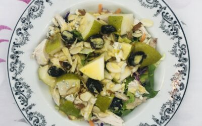 Chicken and fresh pear salad with dried cherries and almonds