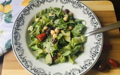 Vegan Mediterranean Chick Pea Salad with Tahini Dressing
